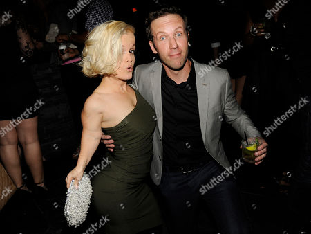 "Stock Photo of Terra Jole, left, and Ben Begley, cast members in ""The Hungover Games,"" pose together at the post-premiere party for the film, in Los Angeles"