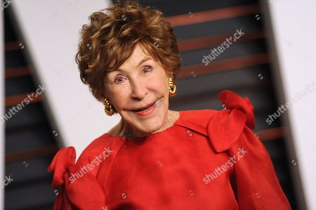 Stock Image of Betsy Bloomingdale arrives at the 2015 Vanity Fair Oscar Party in Beverly Hills, Calif. Bloomingdale, the widow of a department store heir who hobnobbed with the world's elite and was best friends with Nancy Reagan, has died. She was 93. Her daughter-in-law says Bloomingdale died, at her Los Angeles home from congestive heart failure