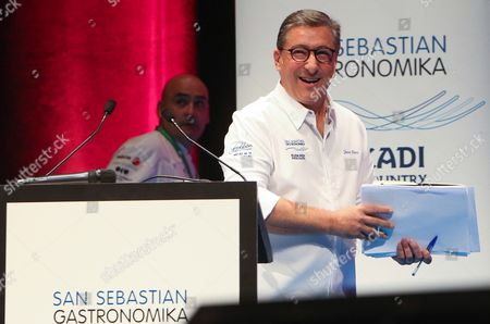 Spanish chef Joan Roca gives a master class at the San Sebastian Gastronomika congress in Barcelona, northeastern Spain, on 10 October 2017. This edition of the Gastronomika centres around the Indian cuisine and will run from 08 to 11 October.