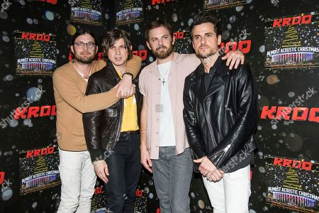 Nathan Followill, from left, Matthew Followill, Caleb Followill, and Jared Followill of Kings of Leon pose at the 2016 KROQ Almost Acoustic Christmas at The Forum, in Inglewood, Calif