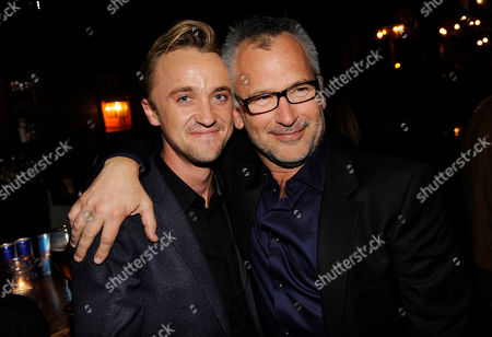 "Tom Felton, left, a cast member in ""In Secret,"" poses with the film's writer/director Charlie Stratton at the post-premiere party for the film, in Los Angeles"