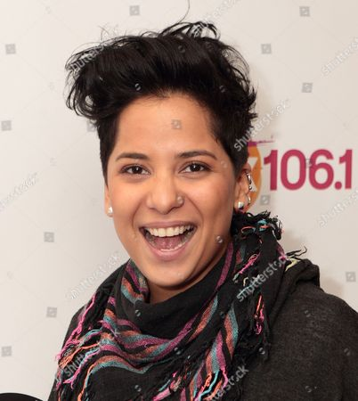 Vicci Martinez, American singer songwriter and finalist on NBC's singing competition series The Voice, visits radio station WISX Mix 106.1, in Philadelphia