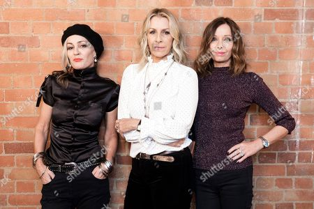 Stock Image of Siobhan Fahey, Sara Dallin, Keren Woodward. Members of 'Bananarama' from left, Siobhan Fahey, Sara Dallin, and Keren Woodward, pose for a portrait in London to promote their new tour. Bananarama is back together after thirty years and it is touring the U.S. for the first time. The girl group's original members _ Sarah Dallin, Keren Woodward and Siobhan Fahey say they began rehearsals this week for the shows, due to start in February