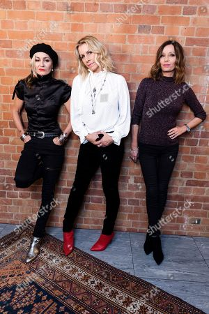 Siobhan Fahey, Sara Dallin, Keren Woodward. Members of 'Bananarama' from left, Siobhan Fahey, Sara Dallin, and Keren Woodward, pose for a portrait in London to promote their new tour. Bananarama is back together after thirty years and it is touring the U.S. for the first time. The girl group's original members _ Sarah Dallin, Keren Woodward and Siobhan Fahey say they began rehearsals this week for the shows, due to start in February
