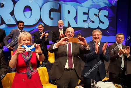 (L-R) Scottish National Party (SNP) members Roseanna Cunningham, John Swinney, Angus Robertson and Derek Mackay react after SNP leader Nicola Sturgeon speech at the party conference at the SECC in Glasgow, Scotland, Britain, 10 October 2017.