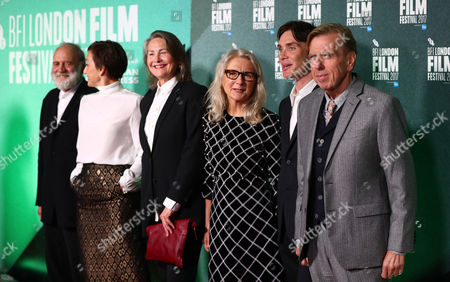 Cast and crew (L-R) Bruno Ganz, Kristin Scott Thomas, Cherry Jones, Sally Potter, Cillian Murphy and Timothy Spall attend a screening of her film 'The Party' during the 61st BFI London Film Festival, in London, Britain, 10 October 2017. The festival runs from 04 to 15 October.