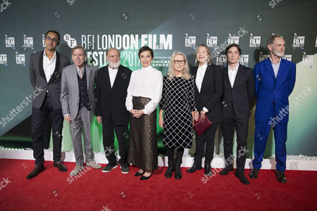 Cast and crew (L-R) Kurban Kassam, Timothy Spall, Bruno Ganz, Kristin Scott Thomas, Sally Potter, Cherry Jones, Cillian Murphy and Christopher Sheppard attend a screening of her film 'The Party' during the 61st BFI London Film Festival, in London, Britain, 10 October 2017. The festival runs from 04 to 15 October.