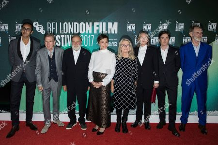 Kurban Kassam, Timothy Spall, Bruno Ganz, Sally Potter, Kristin Scott Thomas, Cherry Jones, Cillian Murphy, Christopher Sheppard. From left, Producer Kurban Kassam, Timothy Spall, Bruno Ganz, director Sally Potter, Kristin Scott Thomas, Cherry Jones, Cillian Murphy and producer Christopher Sheppard pose for photographers upon arrival at the premiere of the film 'The Party' during the London Film Festival in London