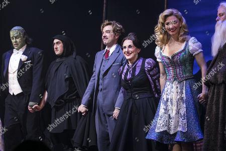Shuler Hensley (The Monster), Ross Noble (Igor), Hadley Fraser (Dr Frederik Frankenstein), Lesley Joseph (Frau Blucher) and Summer Strallen (Inga) during the curtain call