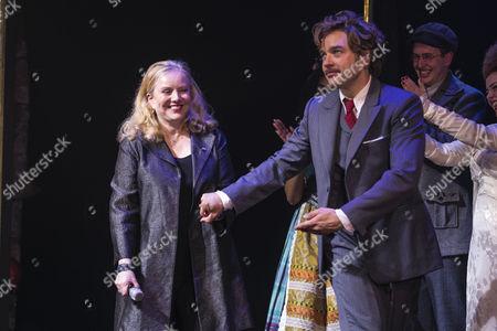 Susan Stroman (Director) and Hadley Fraser (Dr Frederik Frankenstein) during the curtain call
