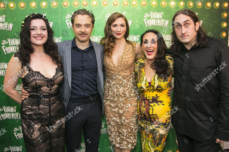 Dianne Pilkington (Elizabeth Benning), Hadley Fraser (Dr Frederik Frankenstein), Summer Strallen (Inga), Lesley Joseph (Frau Blucher) and Ross Noble (Igor)