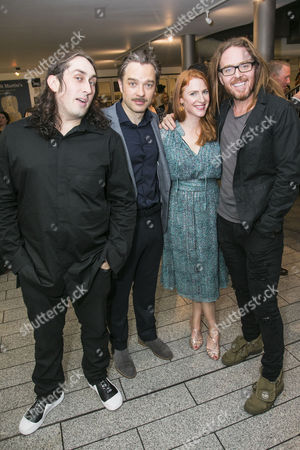 Ross Noble (Igor), Hadley Fraser (Dr Frederik Frankenstein), Rosalie Craig and Tim Minchin