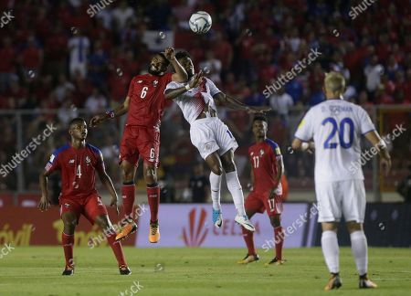 Panama's Gabriel Gomez, left, and Costa Rica's Rodney Wallace fight for the ball during a 2018 Russia World Cup qualifying soccer match in Panama City