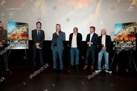 Joseph Kosinski, Director, Josh Brolin, Lorenzo di Bonaventura, Producer, Erik Howsam, Producer, and Michael Menchel, Producer, at the red carpet screening of Columbia Pictures' ONLY THE BRAVE at Harkins Theatres Tempe Marketplace