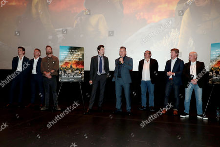 Miles Teller, James Badge Dale, Dierks Bentley, Joseph Kosinski, Director, Josh Brolin, Lorenzo di Bonaventura, Producer, Erik Howsam, Producer, and Michael Menchel, Producer, at the red carpet screening of Columbia Pictures' ONLY THE BRAVE at Harkins Theatres Tempe Marketplace