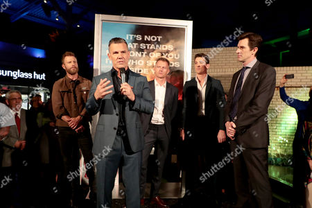 Dierks Bentley, Josh Brolin, James Badge Dale, Miles Teller and Joseph Kosinski, Director, at the red carpet screening of Columbia Pictures' ONLY THE BRAVE at Harkins Theatres Tempe Marketplace