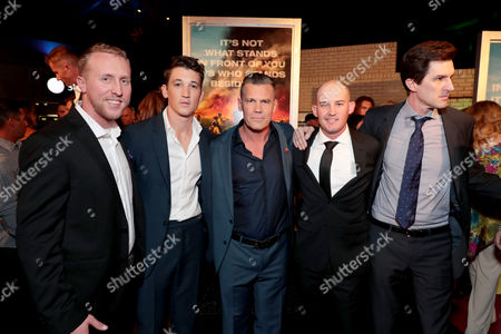 Brendan McDonough, Miles Teller, Josh Brolin, Pat McCarty and Joseph Kosinski, Director, at the red carpet screening of Columbia Pictures' ONLY THE BRAVE at Harkins Theatres Tempe Marketplace