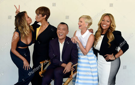 "Chrissy Teigen, from left, Tyra Banks, Joe Zee, Leah Ashley and Lauren Makk, hosts of the lifestyle talk show ""FABLife,"" share a laugh during a portrait shoot at the 2015 Television Critics Association Summer Press Tour at the Beverly Hilton, in Beverly Hills, Calif"