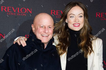 """Ron Perelman, left, and Olivia Wilde unveil the """"Love Is On"""" Revlon Billboard in Times Square on in New York"""