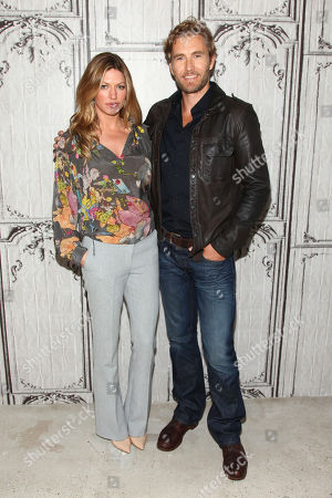 "Jes Macallan, left, and Brett Tucker participate in AOL's BUILD Speaker Series to discuss the new ABC show, ""Mistresses"", at AOL Studios, in New York"