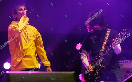 Ian Brown and John Squire of the Stone Roses performs at Isle of Wight Festival in Newport on the Isle of Wight on . Thousands of people are to attend the three day event with headliners, the Stone Roses, the Killers and Bon Jovi