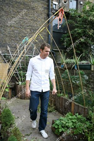 Executive chef Arthur Potts Dawson in the vegetable garden at the back of the restaurant