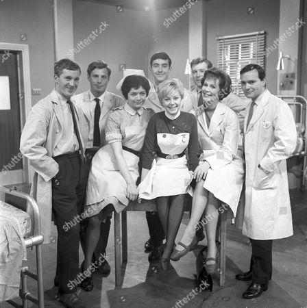 'Emergency Ward 10'   TV 600th Anniversary L-R: Michael McKevitt, John Line, Carole Davies, Jill Browne, John Alderton, Paula Byrne, Desmond Carrington and David Butler.