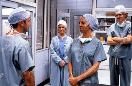 'Surgical Spirit'  TV - 1991 - Joyce Watson [Marji Campi], Sheila Sabatini [Nichola McAuliffe], Jonathan Haslam [Duncan Preston]