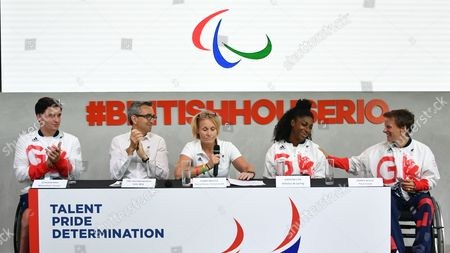 Stock Picture of Kadeena Cox. British Paralympian Gold Medalist Kadeena Cox Is Chosen To Be Flag Bearer For The Rio 2016 Paralympics Closing Ceremony. (l-r) Gordon Reid Wheelchair Tennis Tim Hollingsworth Ceo Bpa Penny Briscoe Chef De Mission Paralympics Gb Kadeena Cox Emma Wiggs Para Canoe.