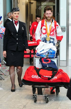 Editorial picture of Jon-allen Butterworth Arrives Home From Rio: Paralympics Gb Arrive Home Into Heathrow Terminal 5 Bringing Home Their Medals And All Their Equipment With Them. 2016/09/20 Picture By Georgie Gillard.