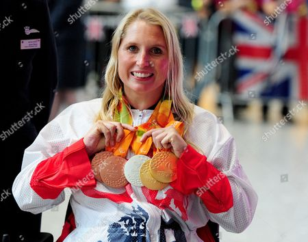 Stephanie Millward Arrives Home From Rio With Her Collection Of Medals Paralympics GB Arrive Home Into Heathrow Terminal 5 Bringing Home Their Medals And All Their Equipment With Them. 2016/09/20.