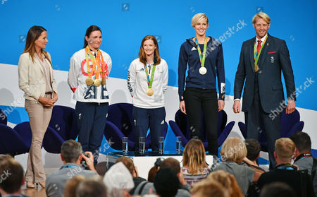 (l To R) Annie Emmerson With OlyMPians Dame Sarah Storey Helen Richardson-walsh Vicky Thornley And Andrew Triggs-hodge. Annual Conservative Party Conference At The Birmingham International Conference Centre. 3/10/16.