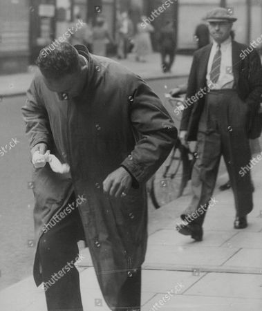 Stock Image of Pc Arthur Cosh Who Fainted As He Gave Evidence In The Trial Of Murderer And Rapist Albert Whiteway (the Towpath Murder Case). Pc Cosh Found An Axe Under The Seat Of A Police Car Which He Took Home And Used To Chop Wood. It Was Later Proved To Be The Murder Weapon. Box 760 63005175 A.jpg.