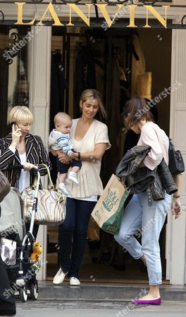 Louise Redknapp with her son Beau Henry and mother far left