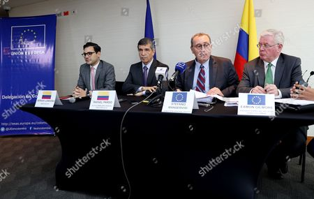 Stefano Manservisi (2-R), Director-General for International Cooperation and Development of the European Union, Eamon Gilmore (R), the EU Special Envoy for Peace in Colombia, Rafael Pardo (C-L), High Councilor for post-conflict, and Sergio Londono (L), Director of the Presidential Agency of International Cooperation of Colombia, attend a press conference in Bogota, Colombia, 10 October 2017. Colombia and the European Union (EU) signed an agreement for the EU to invest an additional 11.5 million Euros to support the dairy sector and implement the policy of transforming the field, said Director General for Cooperation and Development Stefano Manservisi.