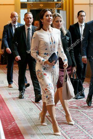 Her Royal Highness the Crown Princess Mary Elizabeth Donaldson (C) attends a business seminar at Hotel Gajoen Tokyo, Tokyo, Japan.
