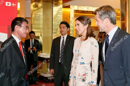 (L to R) Japanese Foreign Minister Taro Kono greets to His Royal Highness the Crown Prince Frederik Andre Henrik Christian and Her Royal Highness the Crown Princess Mary Elizabeth Donaldson during a business seminar at Hotel Gajoen Tokyo