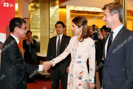 (L to R) Japanese Foreign Minister Taro Kono and Her Royal Highness the Crown Princess Mary Elizabeth Donaldson, shake hands during a business seminar at Hotel Gajoen Tokyo