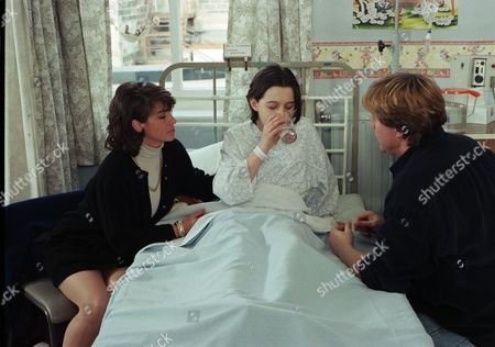 Ep 2182 Wednesday 26th March 1997  Donna slowly recovers in hospital and Vic decides she is going home with him and not back to the Woolpack. Viv has to agree and says she will move back for the sake of the kids - With Donna Windsor, as played by Sophie Jeffrey ; Vic Windsor, as played by Alun Lewis ; Viv Windsor, as played by Deena Payne.