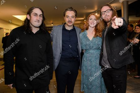 Ross Noble, Hadley Fraser with his wife Rosalie Craig and Tim Minchin