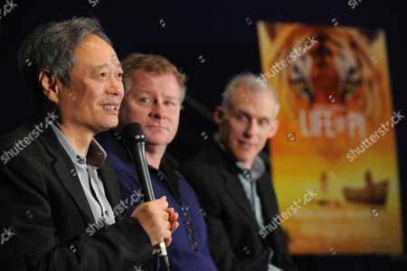Academy Award winning director Ang Lee, left, screenwriter David Magee, center, and film editor Tim Squyres meet with media for the first time since their movie Life of Pi won four Academy Awards, including Best Director for Ang Lee, in New York, on behalf of the Blu-ray 3D, Blu-ray and DVD release on March 12