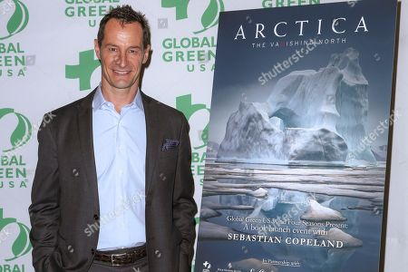 """Sebastian Copeland arrives at the launch for his book """"Arctica: The Vanishing North,"""" at the Four Seasons Hotel, in Los Angeles"""