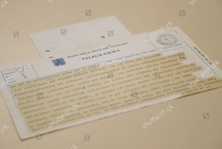 Ken Follett The original telegram from Pope Paul VI to the Archbishopric of Cologne is presented 40 years after the kidnapping of the aircraft 'Landshut' in the Historical Archive of the Archbishopric in Cologne, Germany, 11 October 2017. The telegram documents the willingness of Pope Paul VI to offer himself as a hostage for the liberation of the 91 civilians.