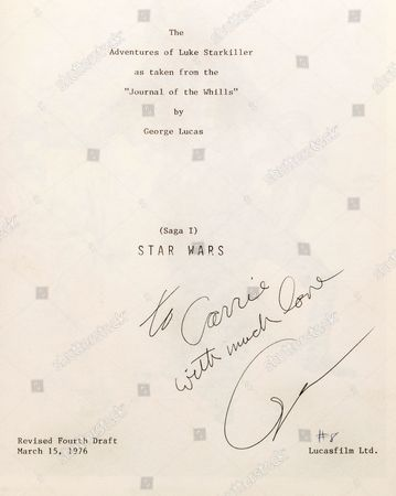 The inside cover of Carrie Fisher's bound presentation script for Star Wars - A New Hope -signed by George Lucas. --It is being sold at auction with her two other bound scripts for the Star Wars trilogy as well as her working annoted script for the Empire Strikes Back.--The four items are being sold by US auctioneers Profiles in Histiory for a combined £115,000.--The burgandy leather bound scripts were given to the actors at the end of filming and signed by director George Lucas. -