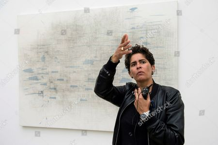 Ethiopian artist Julie Mehretu is seen at the presentation of her exhibition 'Julie Mehretu. A Universal Story of all and Nothing' at the Botin Center in Santander, northern Spain, 11 October 2017.