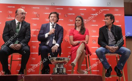 Spanish Tennis Federation's President, Miguel Diaz (L), and Spanish Secretary of State for Sports, Jose Ramon Lete (2-L), present former tennis players Sergi Bruguera (R) as new Spanish team's captain for Davis Cup and Anabel Medina (2-R) as new Fed Cup's Spanish team captain during a press conference held in Madrid, Spain, 11 October 2017. Bruguera and Medina replaces Conchita Martinez (unseen) who was captain of both teams.