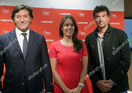 Spanish Secretary of State for Sports, Jose Ramon Lete (L), present former tennis players Sergi Bruguera (R) as new Spanish team's captain for Davis Cup and Anabel Medina (C) as new Fed Cup's Spanish team captain during a press conference held in Madrid, Spain, 11 October 2017. Bruguera and Medina replaces Conchita Martinez (unseen) who was captain of both teams.