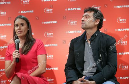 Former tennis players Sergi Bruguera (R), new Spanish team's captain for Davis Cup, and Anabel Medina (L), new Fed Cup's Spanish team captain, address a press conference during their presentation in Madrid, Spain, 11 October 2017. Bruguera and Medina replaces Conchita Martinez (unseen) who was captain of both teams.