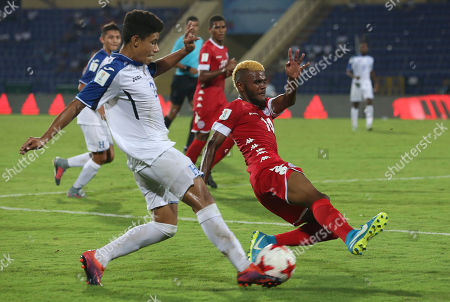 Honduras' Santiago Cabrera,2, and New Caledonia's Bernard Iwa,14, vie for the ball during the FIFA U-17 World Cup match in Gauhati, India, Wednesday, Oct.11, 2017