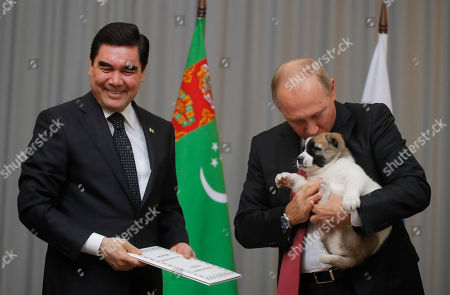 Russian President Vladimir Putin holds a puppy presented by Turkmenistan's President Gurbanguly Berdymukhamedov during their meeting in the Bocharov Ruchei residence in the Black Sea resort of Sochi, Russia, . The presidents met at the sidelines of a summit of leaders of ex-Soviet nations in Sochi